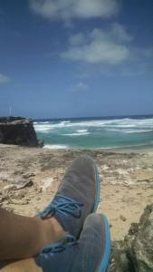 Seinfeld's Shoes on Boca Grande Beach cliffs, Aruba