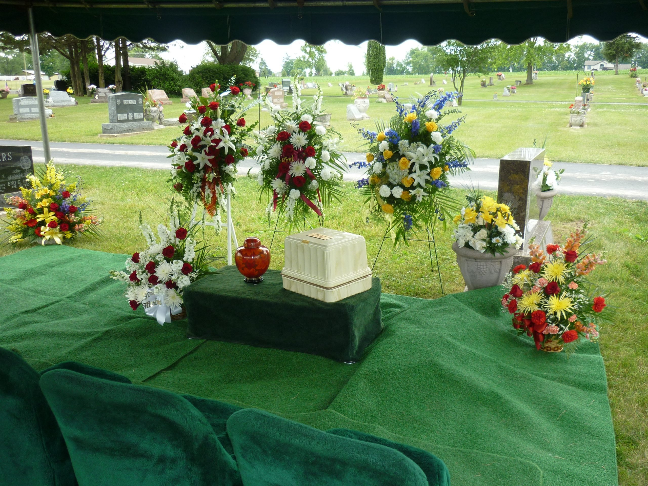 A graveside service is appropriate for the burial of cremated remains.
